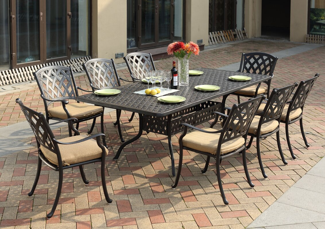 darlee ocean view 9 piece dining set with cushion reviews wayfair default name