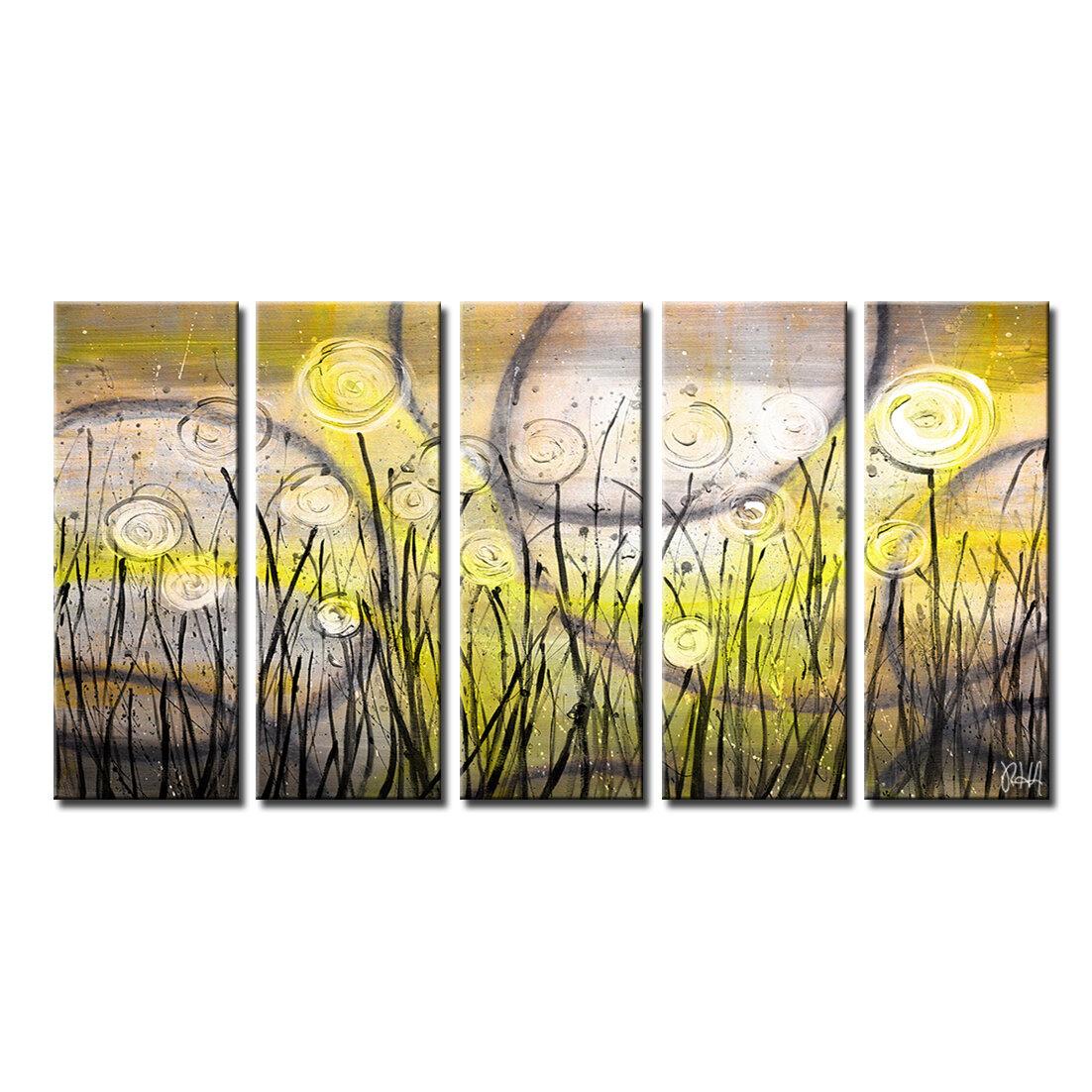 Winston Porter \'Painted Petals VI\' 5 Piece Graphic Art on Canvas Set ...