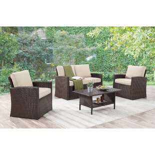 Kingsbury 4 Piece Sofa Set with Cushions By Longshore Tides