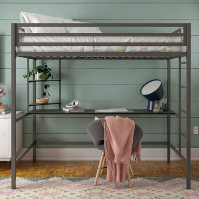 Fine Maxwell Metal Loft Bed With Shelves Download Free Architecture Designs Scobabritishbridgeorg
