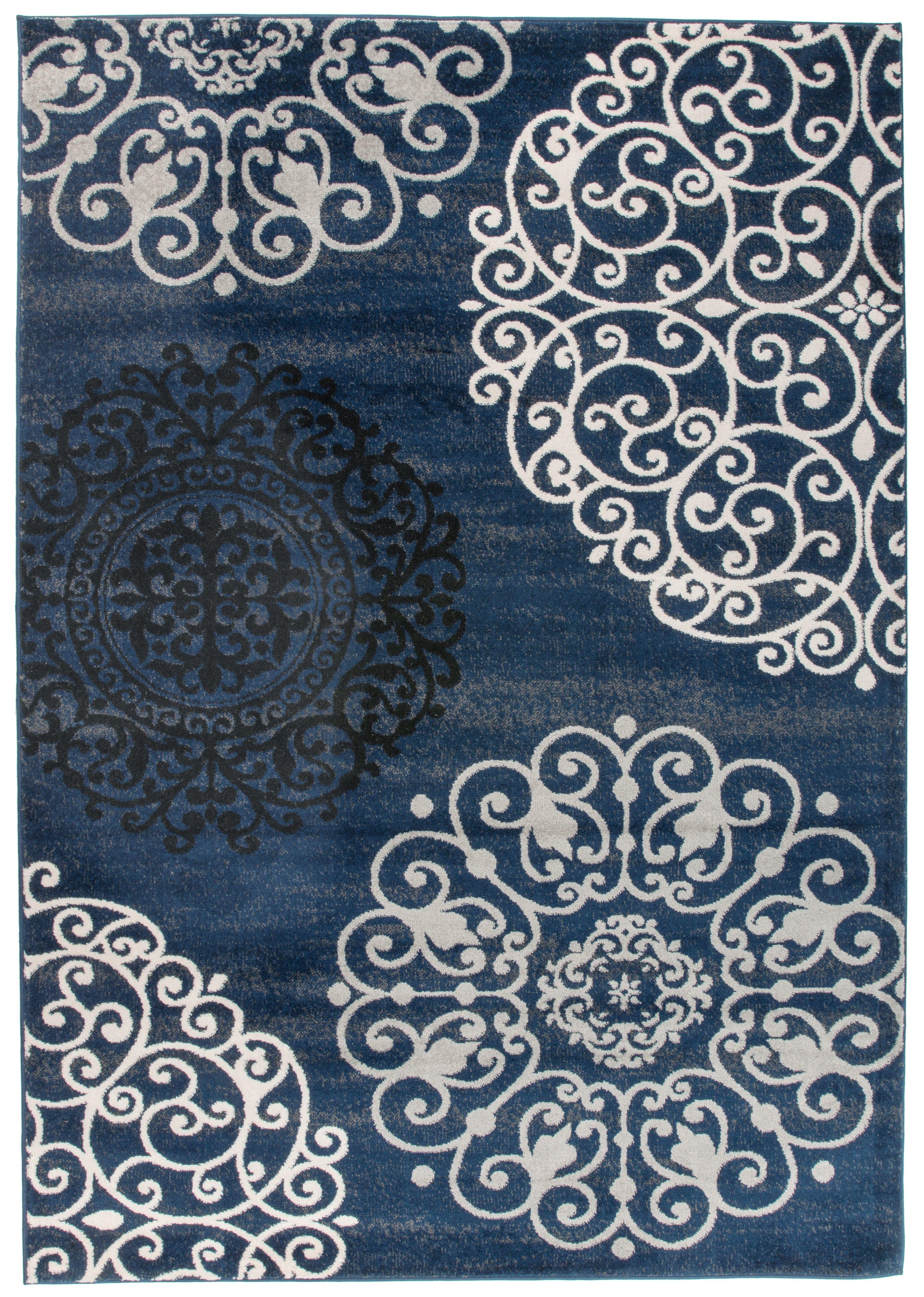 Ebern Designs Devonshire Floral Blue Area Rug Reviews Wayfair