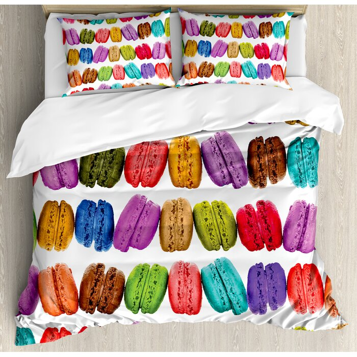 Colorful Home French Macarons In A Row Coffee Cookies Flavors Pastry Bakery Design Duvet Cover Set