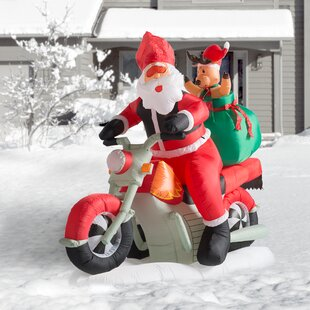 christmas inflatable santa claus driving motorcycle decoration
