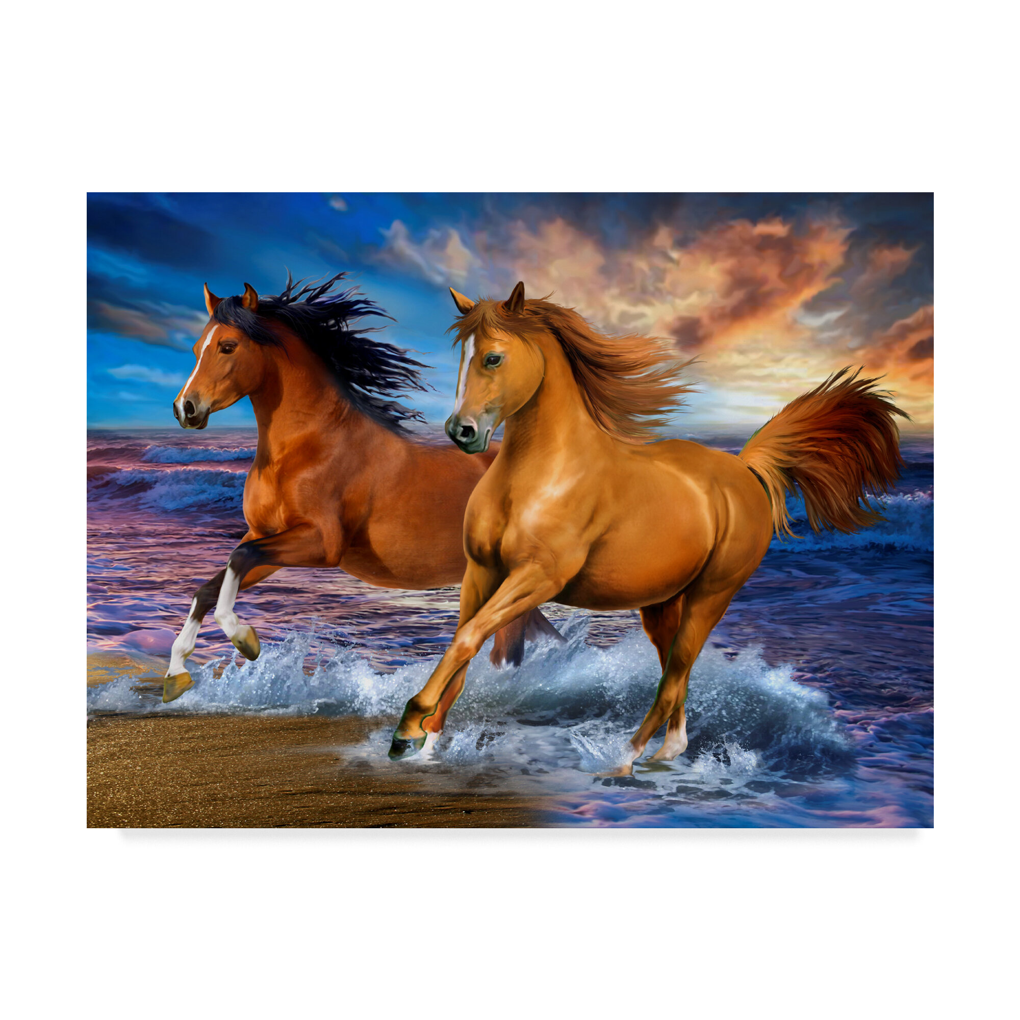 Trademark Art Two Brown Horses Acrylic Painting Print On Wrapped Canvas Reviews