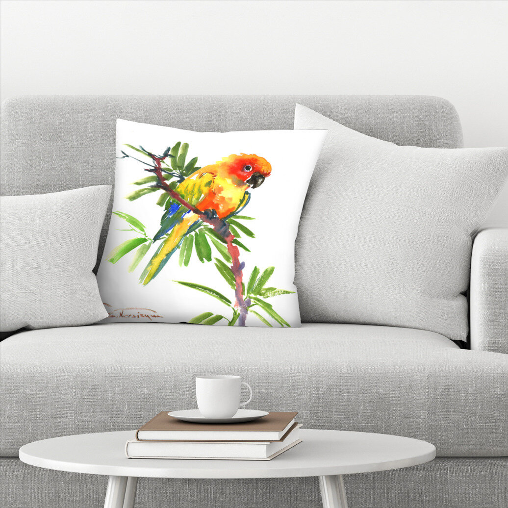 East Urban Home Sun Conure Throw Pillow Wayfair