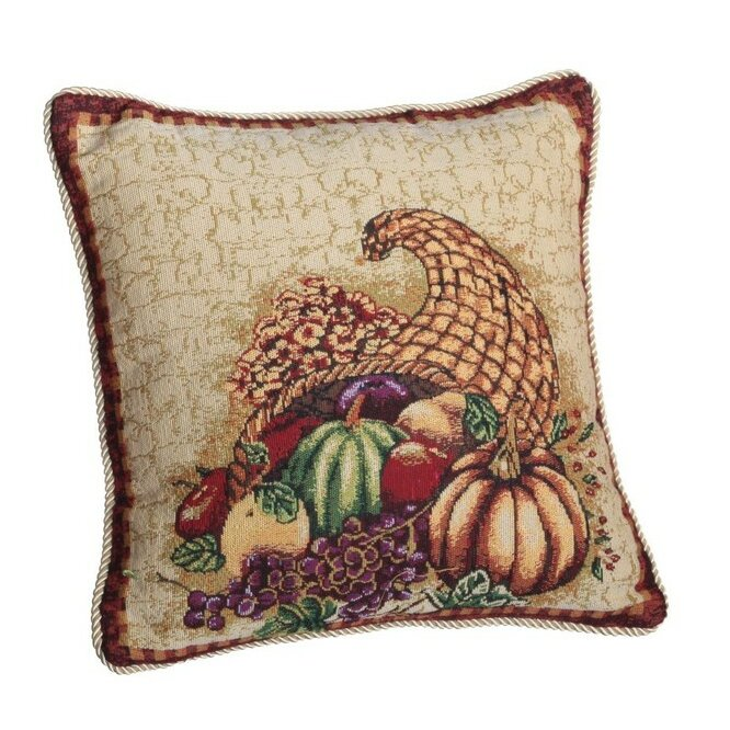 The Holiday Aisle Marcelino Cornucopia With Pumpkins And Fruit Throw Pillow Reviews Wayfair