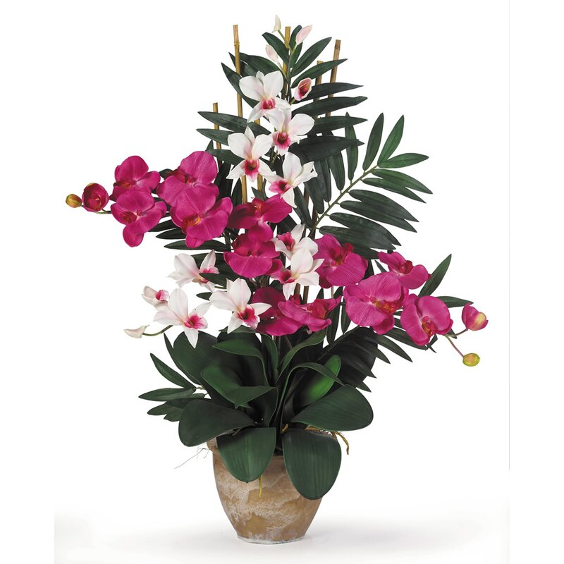 Nearly Natural Double Phalaenopsis And Dendrobium Silk Orchid With