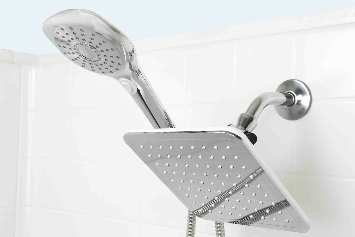 Plated Steel Dual Rainfall Massager Shower Head & Reviews | Joss ...