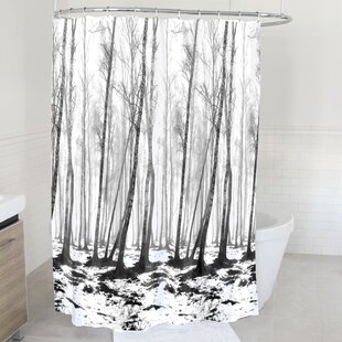 Arnette Fog Forest Fabric Single Shower Curtain