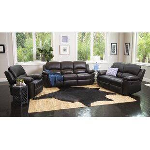 Darby Home Co Blackmoor Reclining 3 Piece Leather Living Room Set