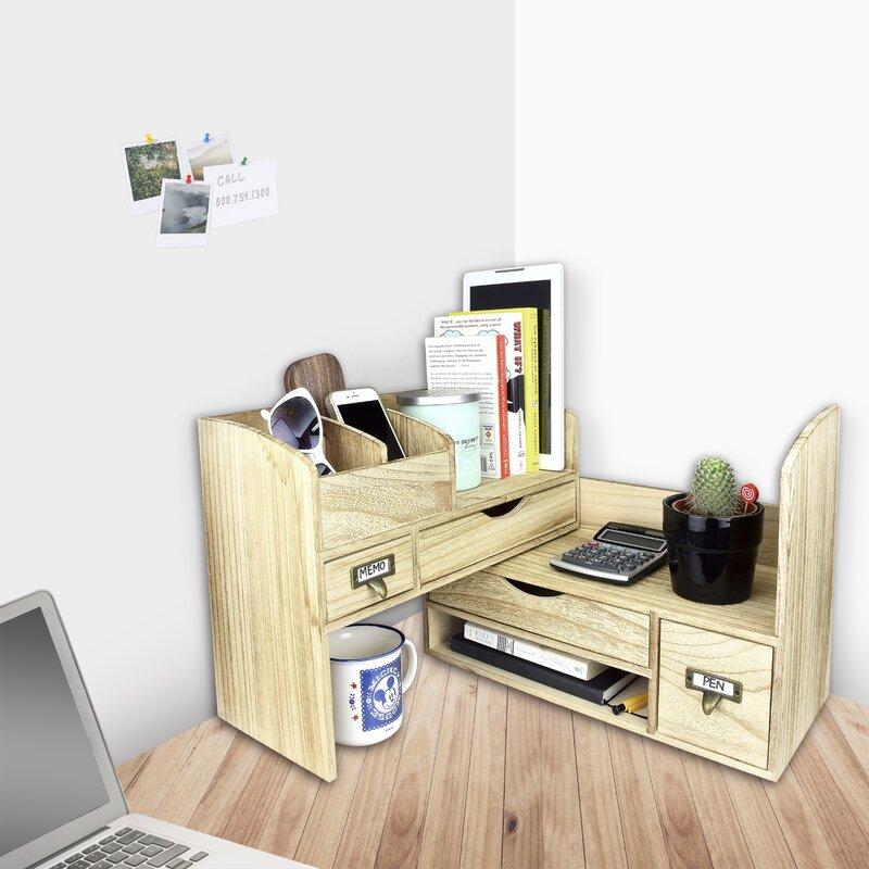 Riaria Adjule Wooden Desktop Organizer Office Supplies Storage Shelf Rack