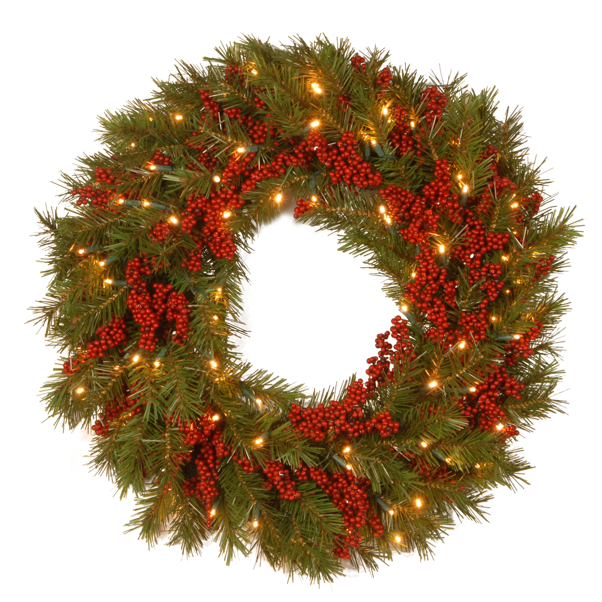 The Holiday Aisle Decorative Pre Lit Valley Pine Wreath With 50 Battery Operated White Led Lights Reviews Wayfair