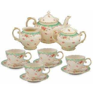 Hemby 11 Piece Vintage Green Rose Porcelain Tea Set