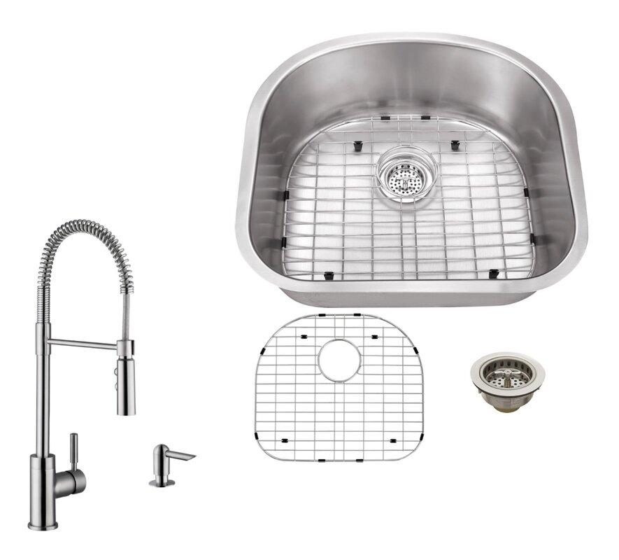 16 gauge stainless steel 23 25   x 20 88   undermount kitchen sink with pull out faucet soleil 16 gauge stainless steel 23 25   x 20 88   undermount kitchen      rh   wayfair com