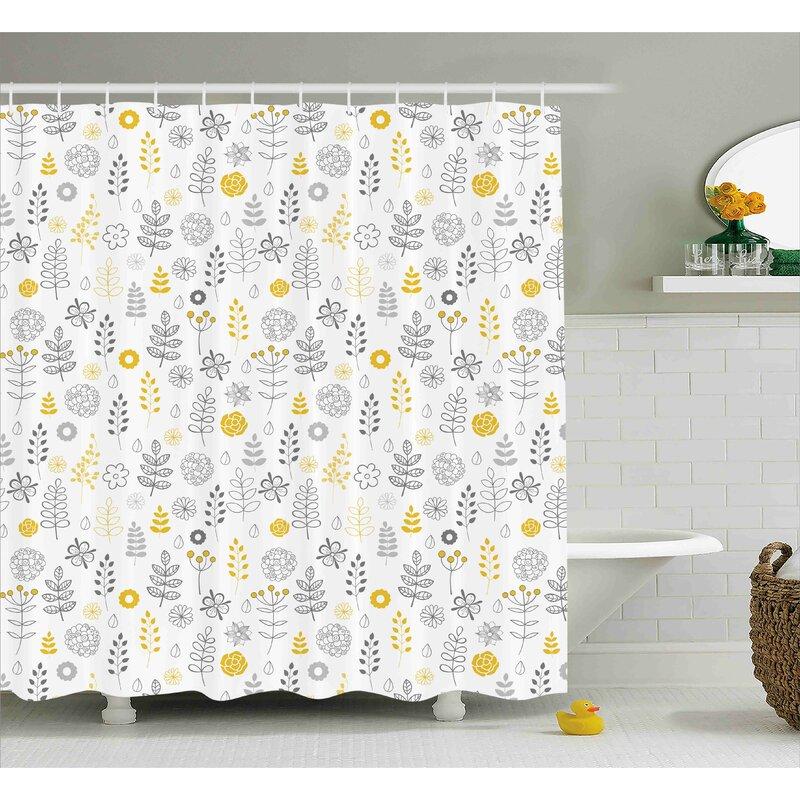 Harriet Bee Dylon Wild Forest Leaf Flowers Single Shower Curtain Reviews Wayfair