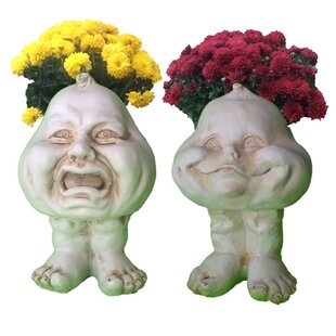 Muggly's The Face Crying Brother and Happy Baby 2-Piece Statue Planter by HomeStyles