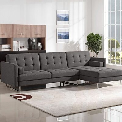 Opus Sleeper Sectional Diamond Sofa Upholstery: Grey