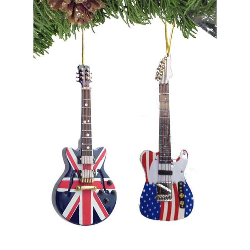 The Holiday Aisle 2 Piece Guitar Ornaments Hanging Figurine Ornament Set Wayfair