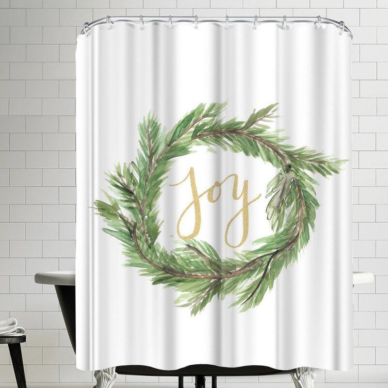 East Urban Home Jetty Printables Wreath Joy Single Shower Curtain Wayfair
