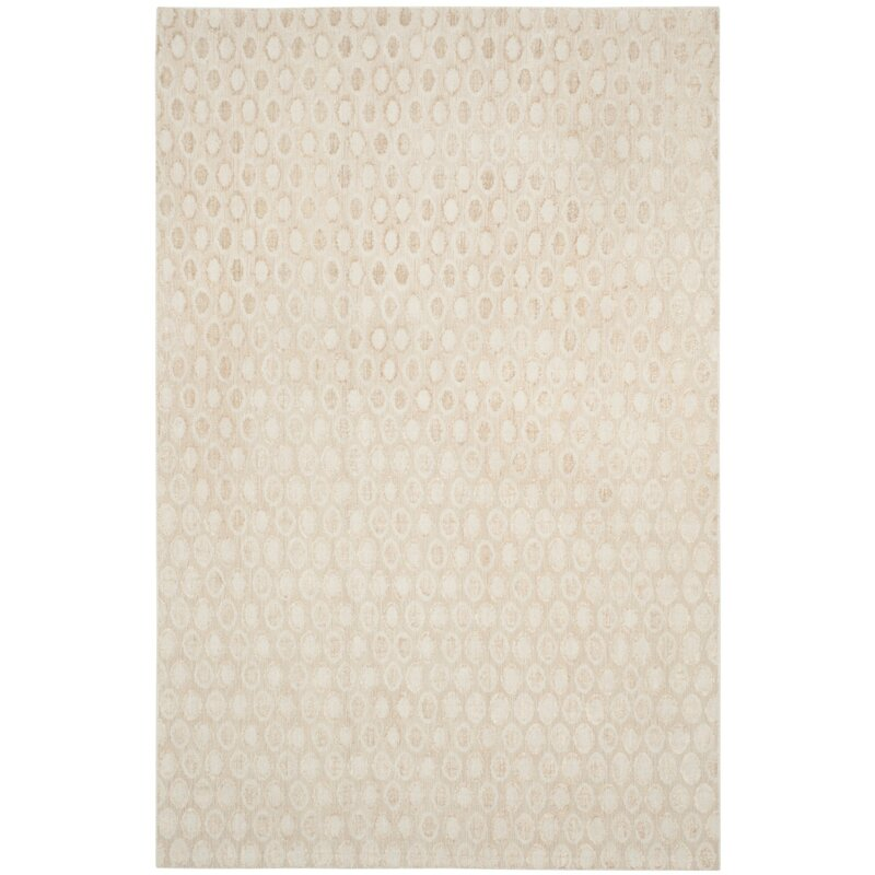 Mercury Row Clune Hand-Knotted Wool Beige Area Rug