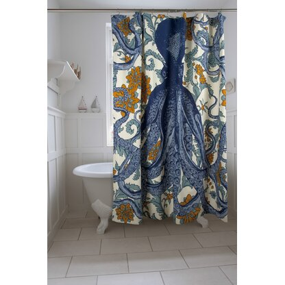 Vineyard Octopus Cotton Single Shower Curtain