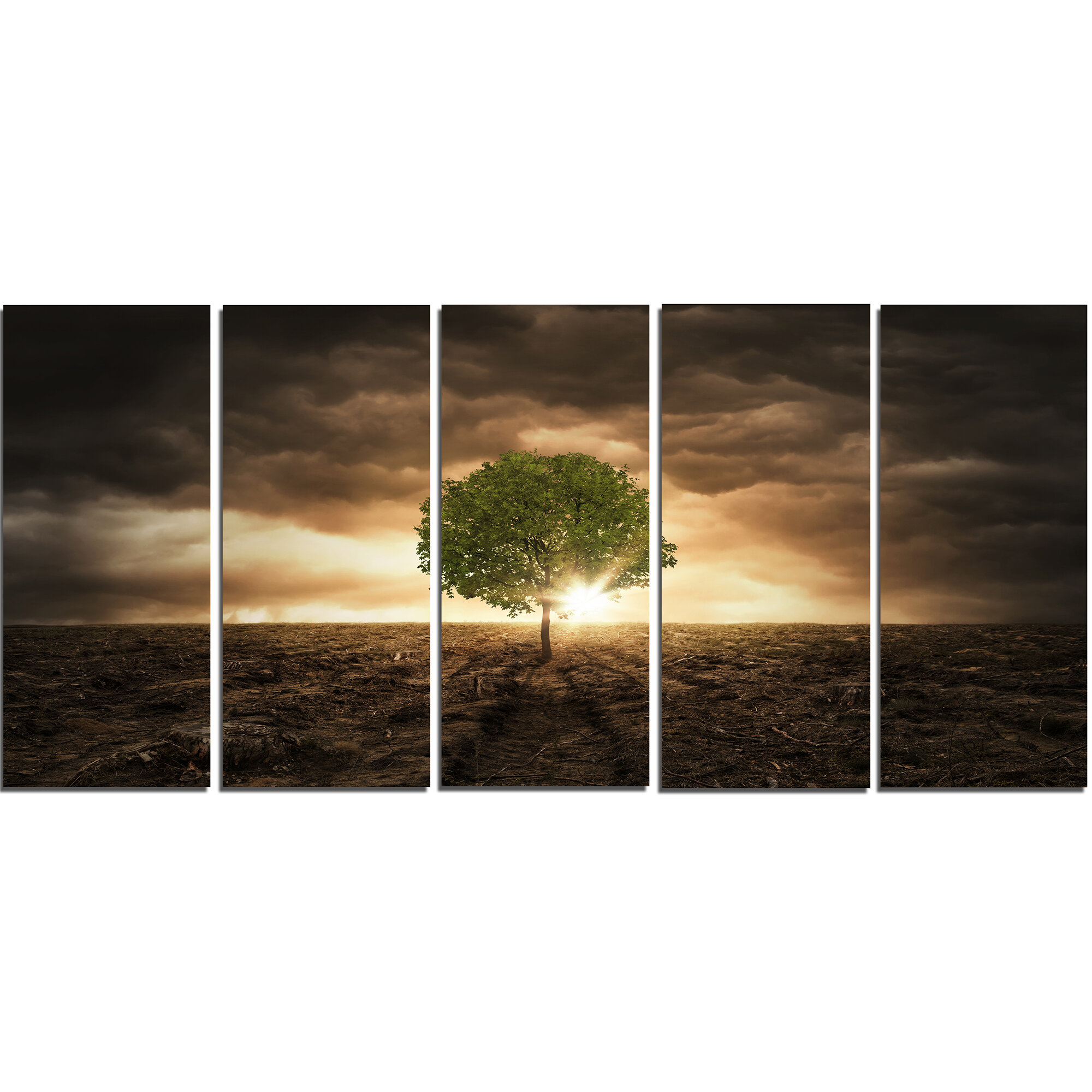 Designart Lonely Tree Under Dramatic Sky 5 Piece Wall Art On Wrapped Canvas Set Wayfair