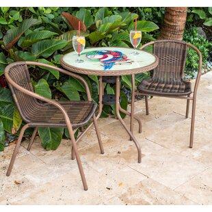 Panama Jack Outdoor Cafe Parrot 3 Piece Bistro Set