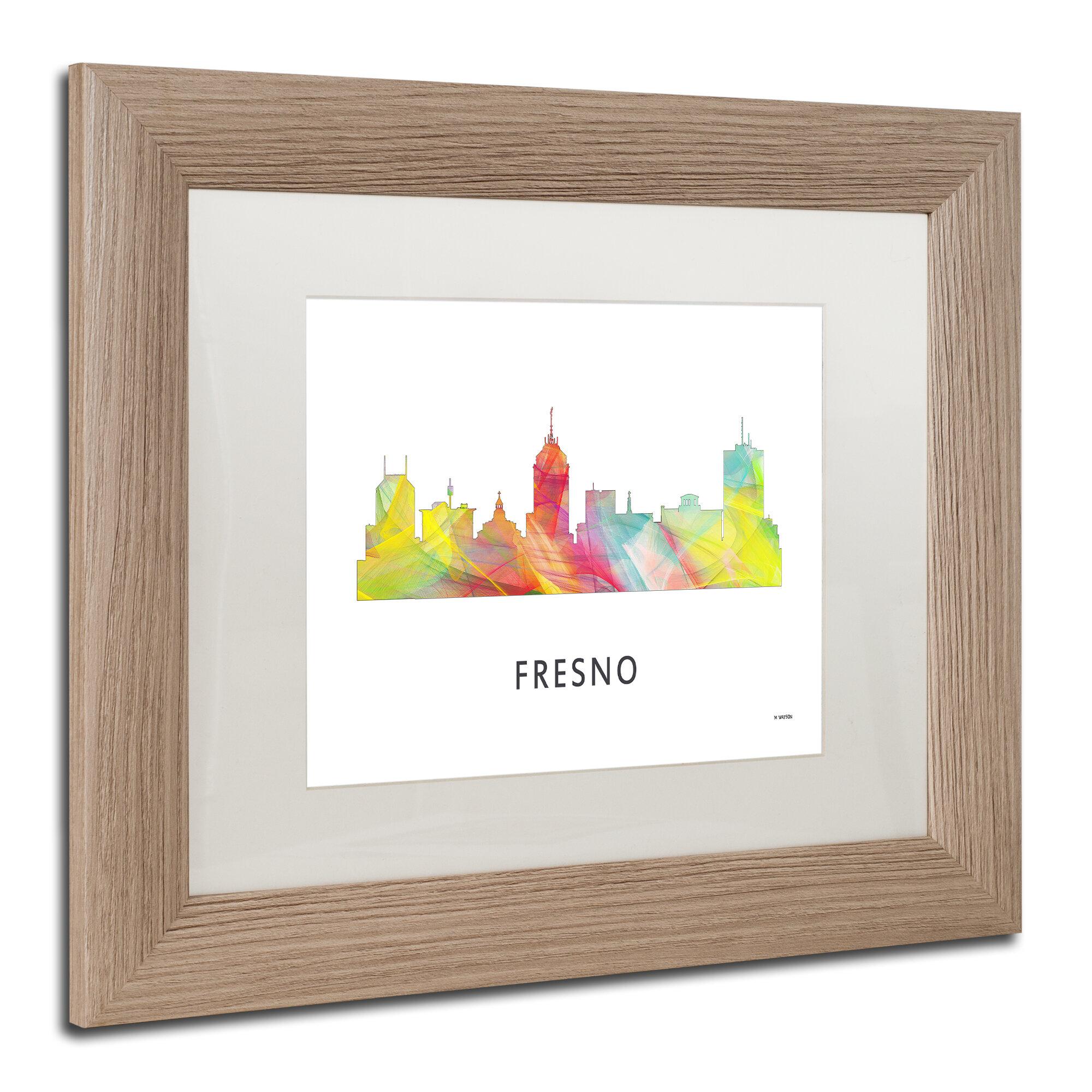 Trademark Art Fresno California Skyline Wb 1 Framed Graphic Art On Canvas Wayfair