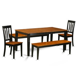 Pillar 5 Piece Extendable Solid Wood Dining Set August Grove