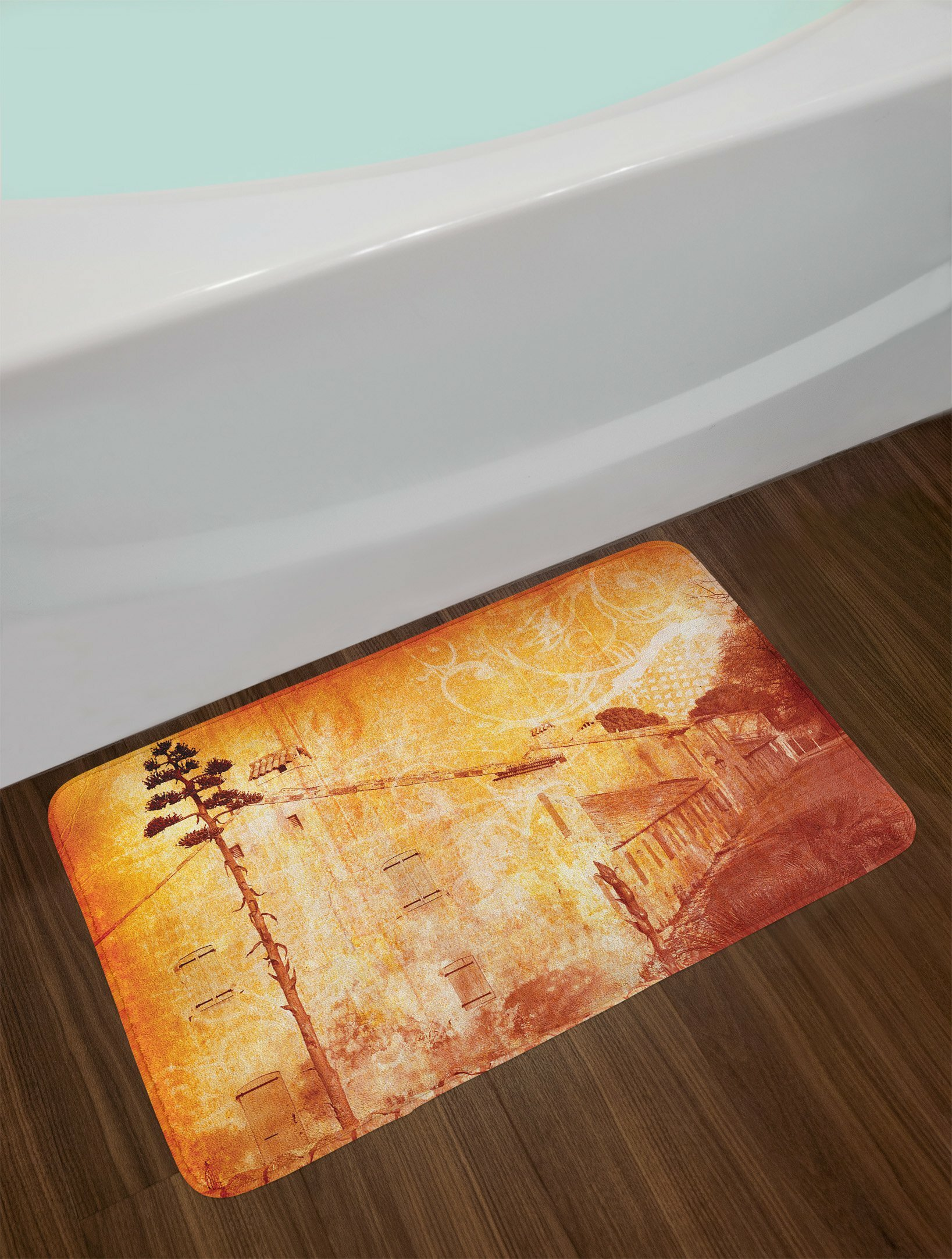Tan Burnt Orange Bath Rug