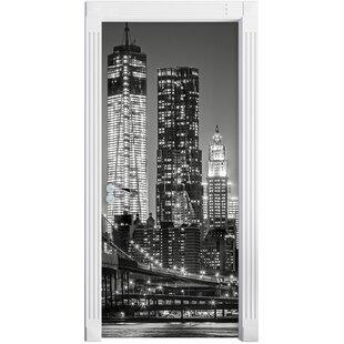 New York City Skyline At Night Door Sticker By East Urban Home
