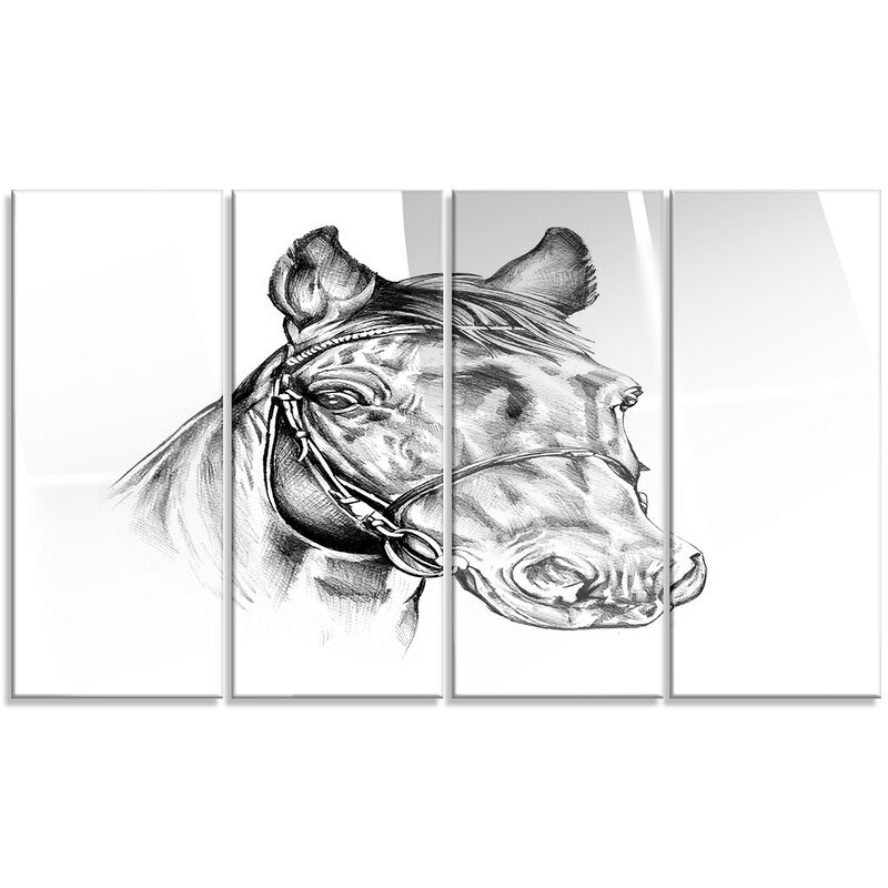 Designart Freehand Horse Head Pencil Drawing 4 Piece Graphic Art On Metal Set Wayfair