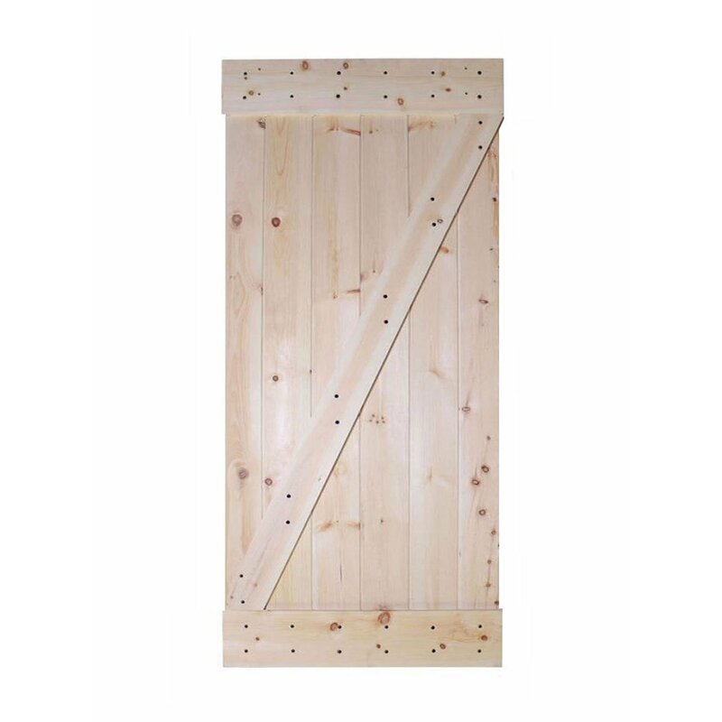 Calhome Paneled Wood Unfinished Barn Door Without