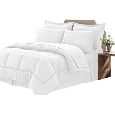 Bay Isle Home Tana 8 Piece Comforter Set Color: White, Size: Queen