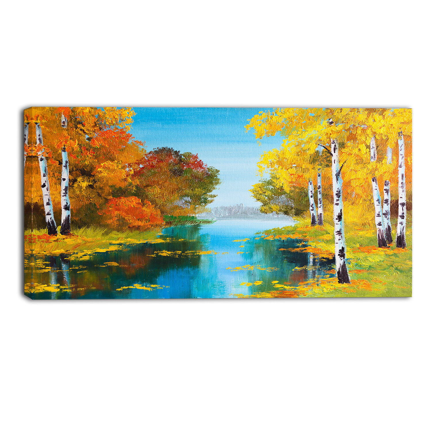 Designart Birch Forest Near The River Landscape Painting Print On Wrapped Canvas Wayfair