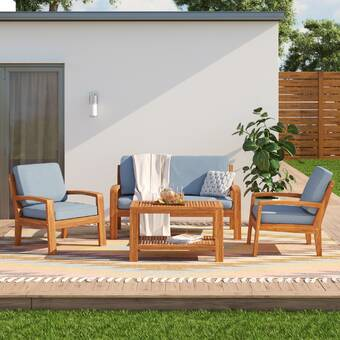 Amazing Berkley 4 Piece Sofa Seating Group With Cushions Reviews Theyellowbook Wood Chair Design Ideas Theyellowbookinfo