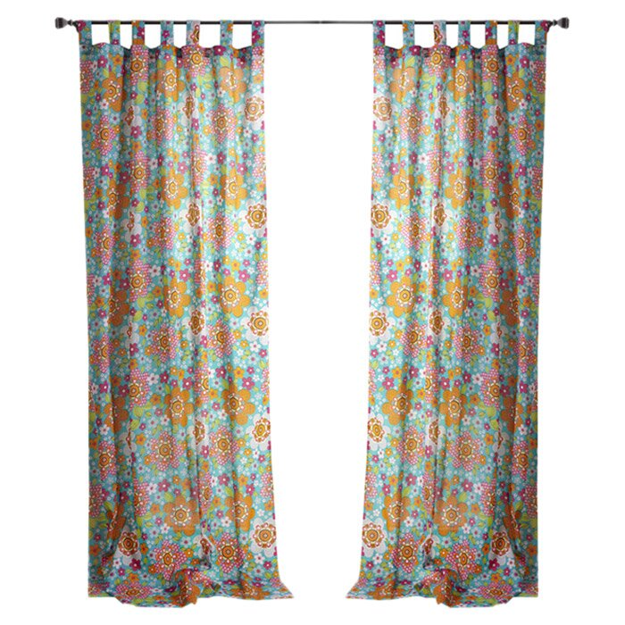 High Quality Festival Flowers Tab Top Window Single Curtain Panel