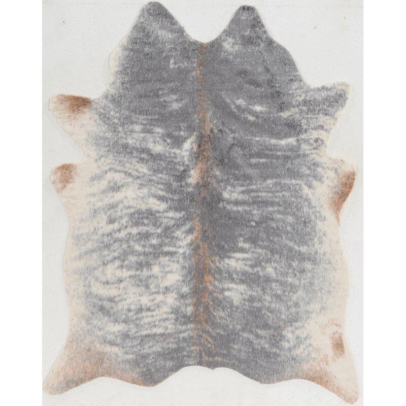 Mercury Row Hand-Tufted Faux Cowhide Gray Area Rug