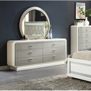 Rosdorf Park Katlyn 6 Drawer Double Dresser with Mirror