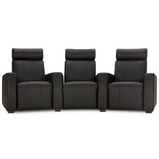 Latitude Run Leather Home Theater Sofa (Row of 3)