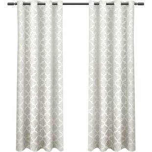 Britain Geometric Blackout Thermal Grommet Curtain Panels (Set Of 2)
