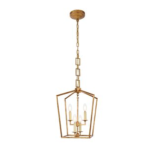 Isoline 4-Light Geometric Chandelier by Everly Quinn