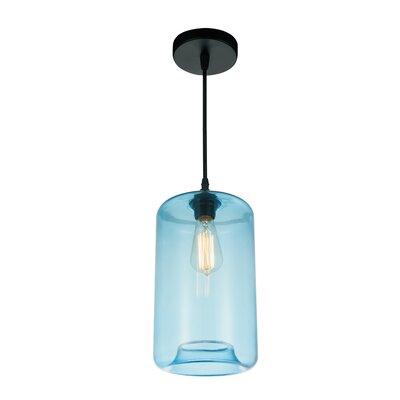 1-light Cylinder Pendant Cwilighting Shade Color: Blue