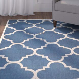 Short Navy/Beige Indoor/Outdoor Area Rug