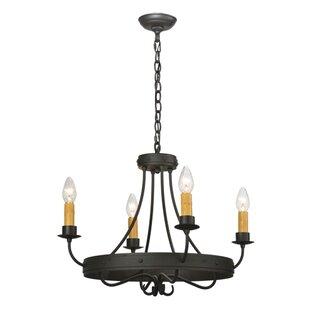 Meyda Tiffany Greenbriar Oak Franciscan 4-Light Candle Style Chandelier