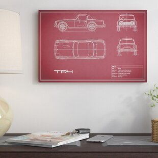 'Triumph TR4' Graphic Art Print on Canvas in Maroon ByEast Urban Home