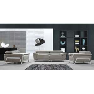 grey leather living room furniture. Corelle 3 Piece Leather Living Room Set Modern Sets  AllModern