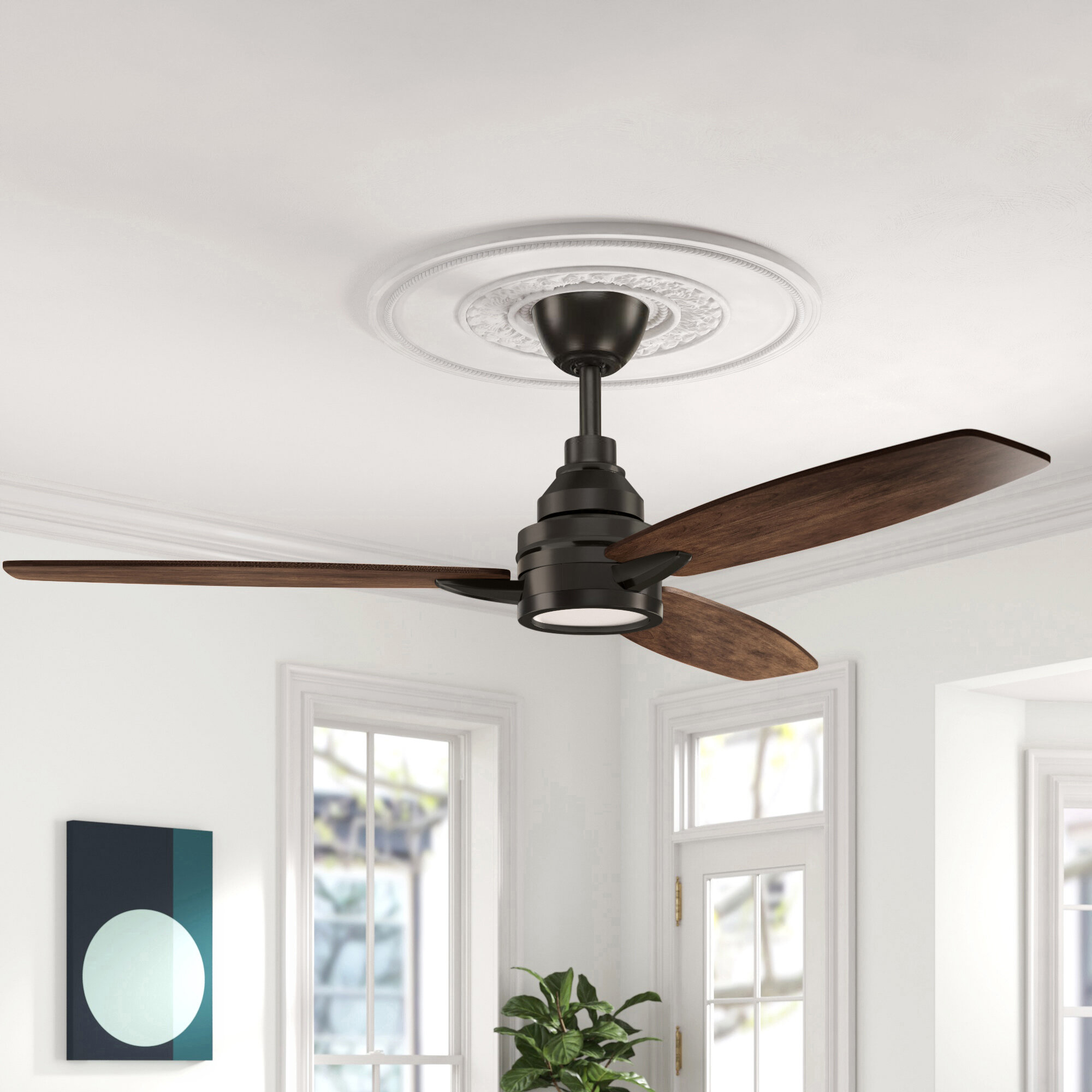 60 Kovach 3 Blade Led Standard Ceiling Fan With Remote Control And Light Kit Included Reviews Birch Lane