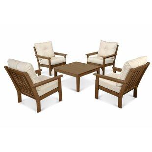 POLYWOOD® Vineyard 5 Piece Sunbrella Conversation Set with Cushion