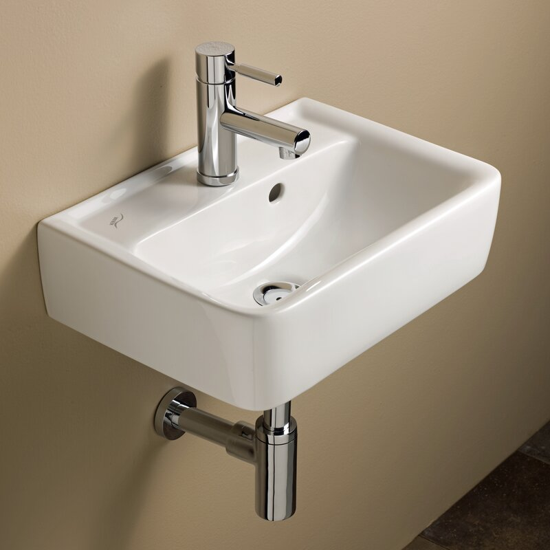 Renova Ceramic 18 Wall Mount Bathroom Sink With Overflow